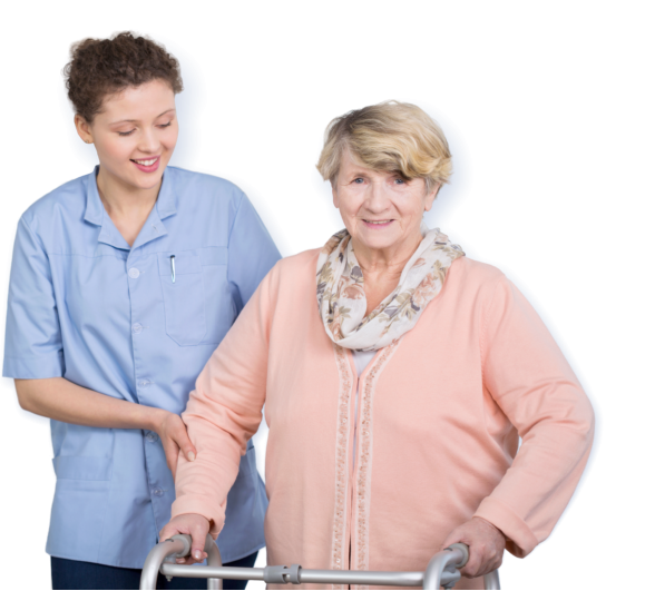 caregiver assisting senior woman to walk
